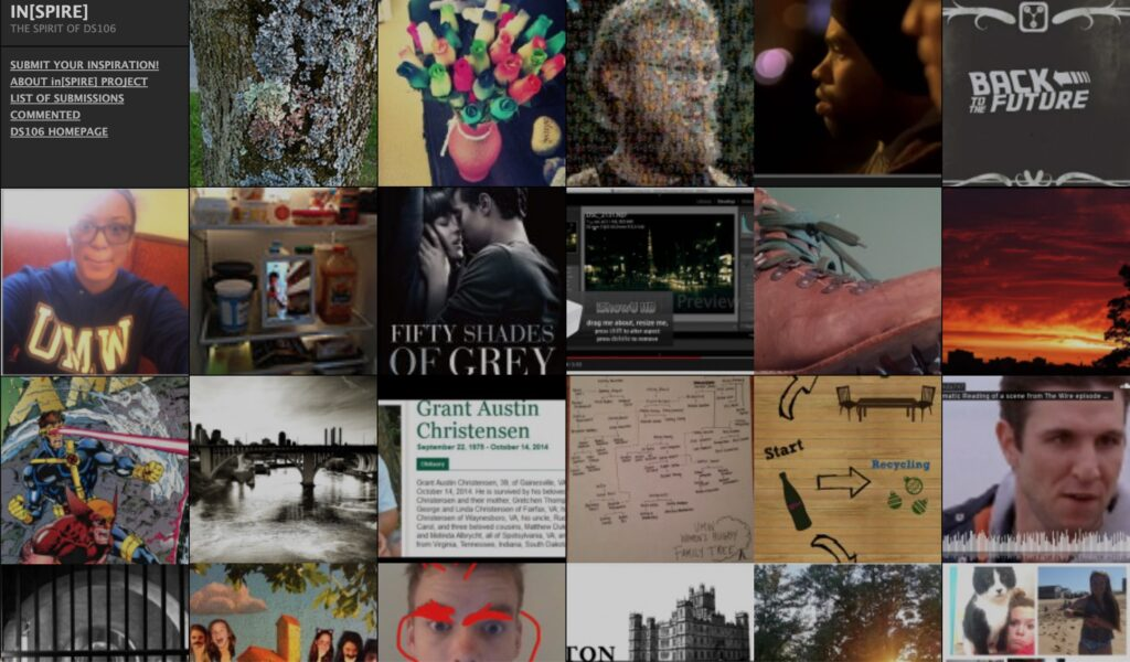 A grid of images each representing a submitted inspiration for the DS106 inSPIRE web site