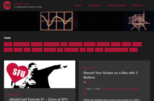 Front page of site which has dark black backgrounds and abundant red text- it has a rather retro look with headers of animated gifs of old electronic displays.