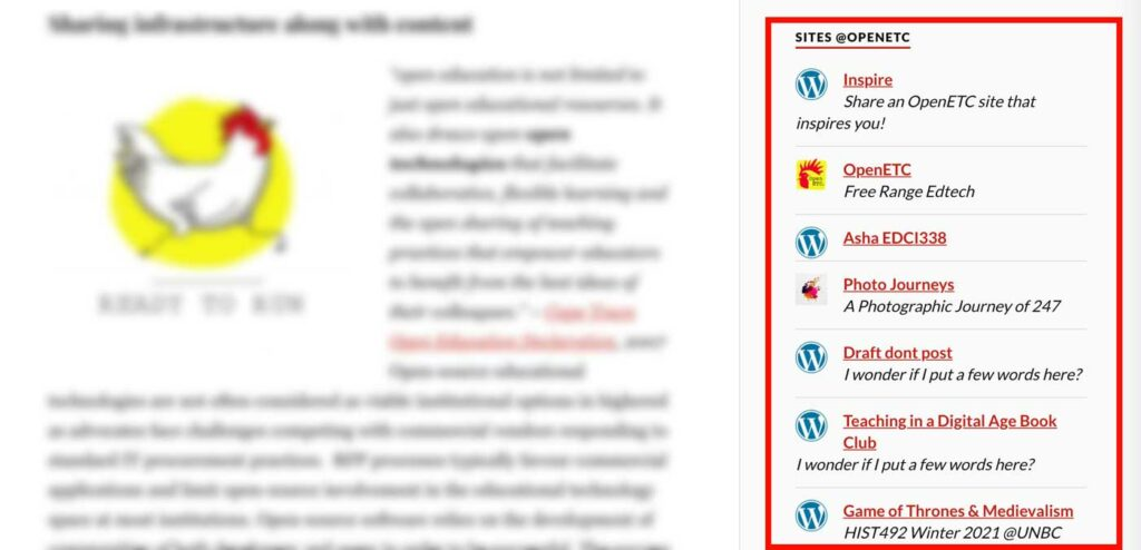 """A red box surrounds a list of web sites listed under """"Sites @ OpenETC"""" on the sidebar of its pages"""