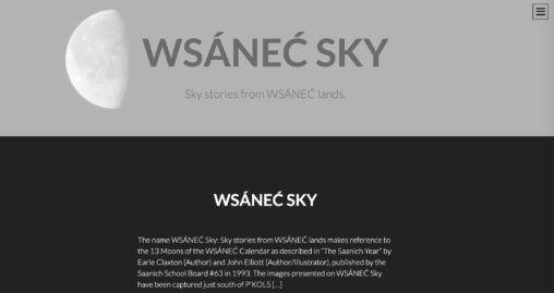 Cover of WSÁNEĆ Sky blog with a image of the moon faintly on the left