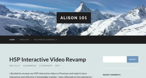Homepage for Alison\'s blog, with a header image of alpine peaks and the latest blog post \