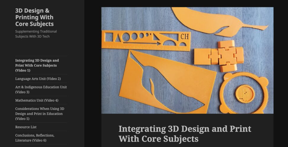 Web site for 3D Design & Printing With Core Subjects